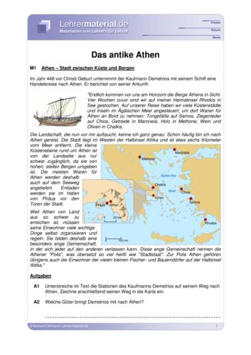 Vorschaugrafik 1 für das  Arbeitsblatt Das antike Athen von Lehrermaterial.de.