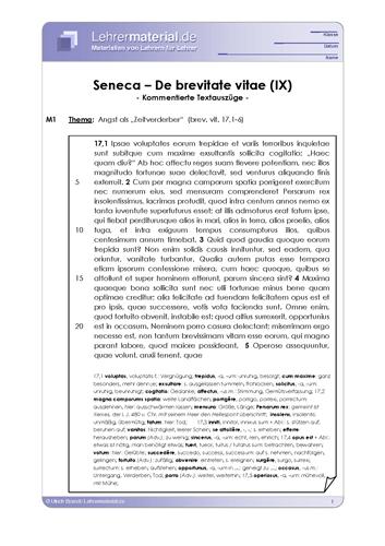 Vorschaugrafik 1 für das  Arbeitsblatt Seneca - De brevitate vitae (IX) von Lehrermaterial.de.