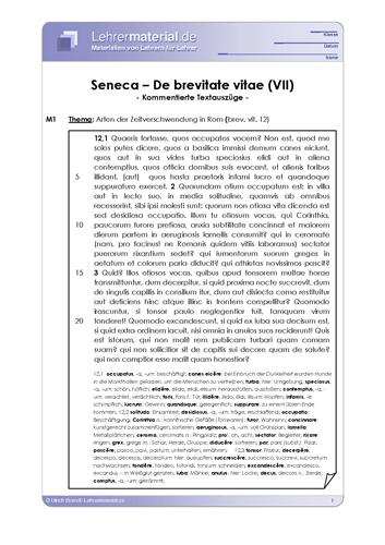 Vorschaugrafik 1 für das  Arbeitsblatt Seneca - De brevitate vitae (VII) von Lehrermaterial.de.
