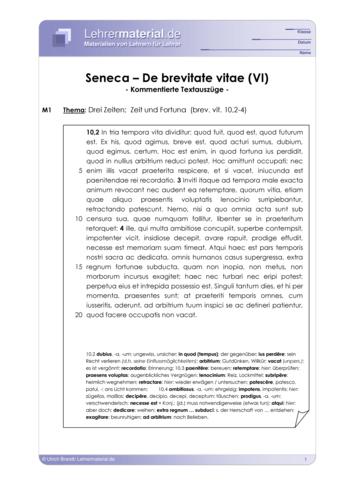 Vorschaugrafik 1 für das  Arbeitsblatt Seneca - De brevitate vitae (VI) von Lehrermaterial.de.