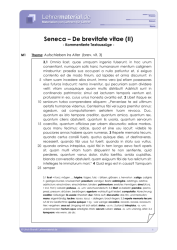 Vorschaugrafik 1 für das  Arbeitsblatt Seneca - De brevitate vitae (II) von Lehrermaterial.de.