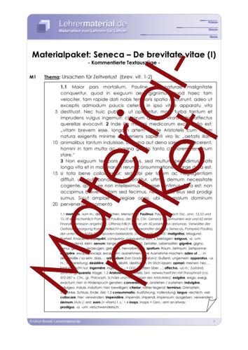 Vorschaugrafik für das  Arbeitsblatt Seneca - De brevitate vitae (Materialpaket) von Lehrermaterial.de