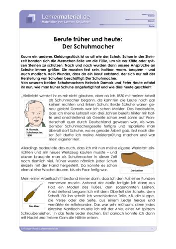 Vorschaugrafik 1 für das  Arbeitsblatt Berufe früher und heute: Der Schuhmacher von Lehrermaterial.de.