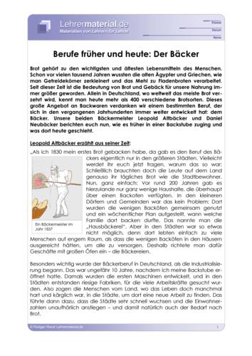 Vorschaugrafik für das  Arbeitsblatt Berufe früher und heute: Der Bäcker von Lehrermaterial.de