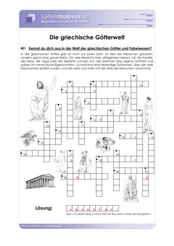 Detailseite für das  Arbeitsblatt Die griechische Götterwelt öffnen