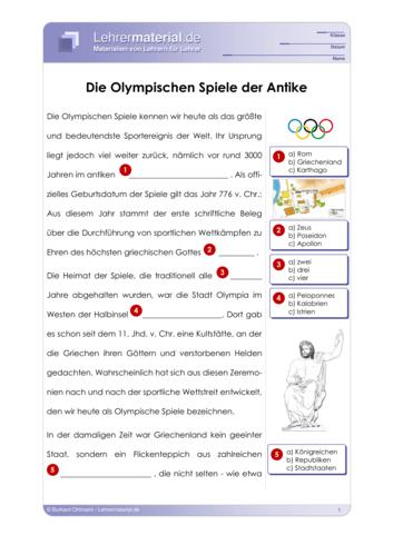 Vorschaugrafik 1 für das  Arbeitsblatt Die Olympischen Spiele der Antike von Lehrermaterial.de.