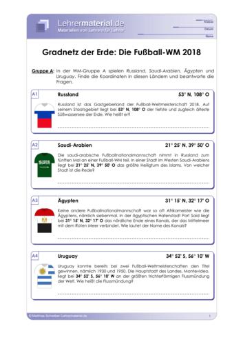 Vorschaugrafik 1 für das  Arbeitsblatt Gradnetz der Erde: Die Fußball-WM 2018 von Lehrermaterial.de.