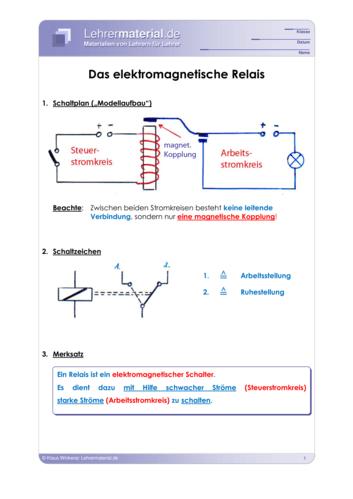 Vorschaugrafik 1 für das  Arbeitsblatt Das elektromagnetische Relais von Lehrermaterial.de.