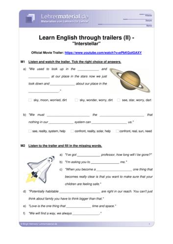 Vorschaugrafik 1 für das  Arbeitsblatt Learn English through trailers (II) - Interstellar von Lehrermaterial.de.