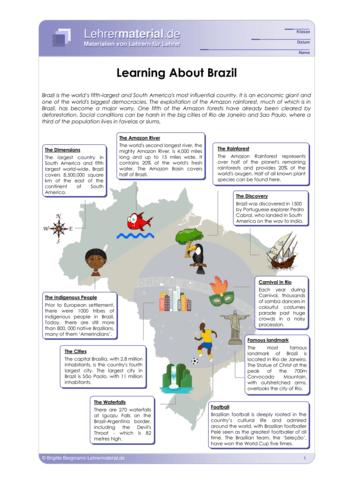 Vorschaugrafik für das  Arbeitsblatt Learning about Brazil von Lehrermaterial.de