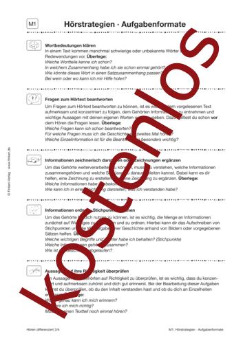 Vorschaugrafik 1 für das kostenlose Arbeitsblatt Hören differenziert: Hörstrategien von Lehrermaterial.de.