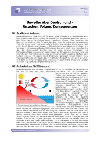 Vorschaugrafik für das  Arbeitsblatt Unwetter über Deutschland - Ursachen, Folgen, Konsequenzen von Lehrermaterial.de