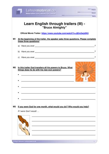 Vorschaugrafik 1 für das  Arbeitsblatt Learn English through trailers (III) - Bruce Almighty von Lehrermaterial.de.
