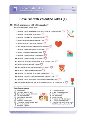 Vorschaugrafik 1 für das  Arbeitsblatt Have Fun with Valentine Jokes (1) von Lehrermaterial.de.