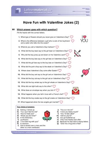 Vorschaugrafik 1 für das  Arbeitsblatt Have Fun with Valentine Jokes (2) von Lehrermaterial.de.