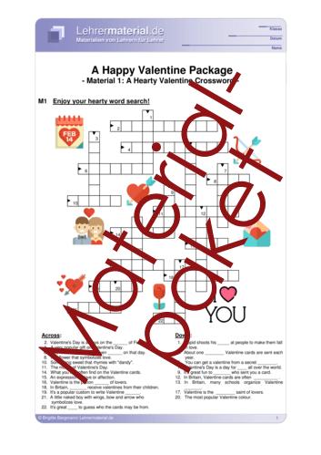 Vorschaugrafik 1 für das  Arbeitsblatt A Happy Valentine Package von Lehrermaterial.de.