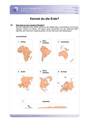 Vorschaugrafik für das  Arbeitsblatt Kennst du die Erde? von Lehrermaterial.de