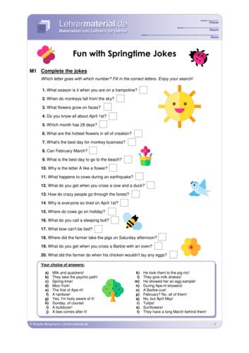 Vorschaugrafik 1 für das  Arbeitsblatt Fun with Springtime Jokes von Lehrermaterial.de.