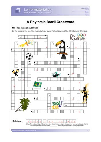 Vorschaugrafik 1 für das  Arbeitsblatt A Rhythmic Brazil Crossword von Lehrermaterial.de.