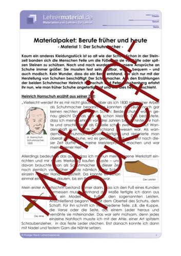 Vorschaugrafik 1 für das  Arbeitsblatt Berufe früher und heute (Materialpaket) von Lehrermaterial.de.