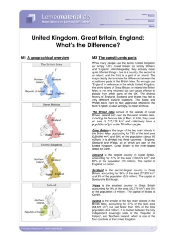 Vorschaugrafik für das  Arbeitsblatt United Kingdom, Great Britain, England: What's the Difference? von Lehrermaterial.de