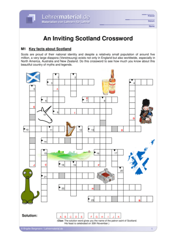 Vorschaugrafik 1 für das  Arbeitsblatt An Inviting Scotland Crossword von Lehrermaterial.de.