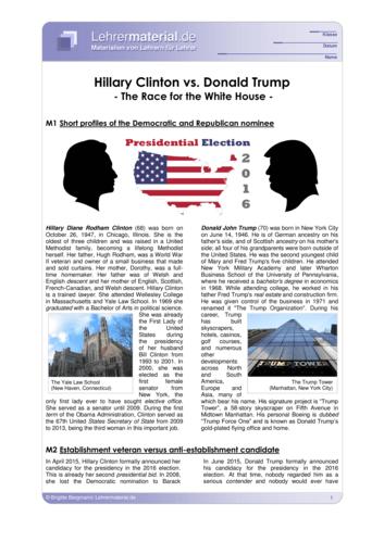 Vorschaugrafik für das  Arbeitsblatt Hillary Clinton vs. Donald Trump von Lehrermaterial.de