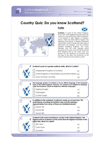 Vorschaugrafik 1 für das  Arbeitsblatt Country Quiz: Do you know Scotland? von Lehrermaterial.de.