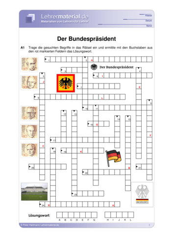 Vorschaugrafik für das  Arbeitsblatt Der Bundespräsident von Lehrermaterial.de