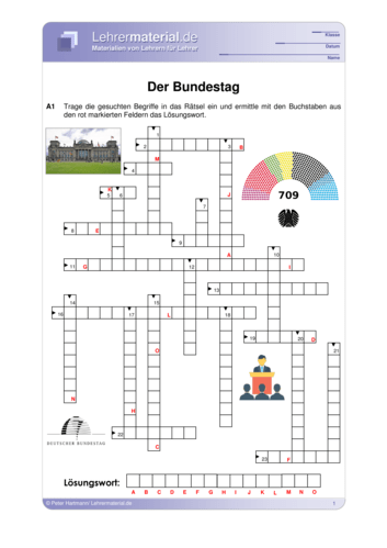 Vorschaugrafik für das  Arbeitsblatt Der Bundestag von Lehrermaterial.de