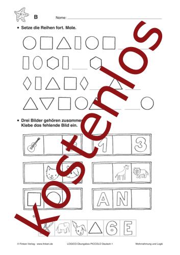 Vorschaugrafik 1 für das kostenlose Arbeitsblatt LOGICO-Box: Reihen bilden von Lehrermaterial.de.