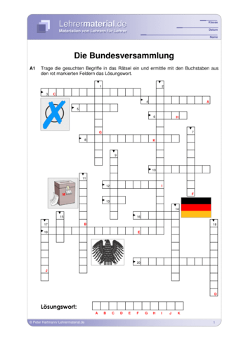 Vorschaugrafik für das  Arbeitsblatt Die Bundesversammlung von Lehrermaterial.de