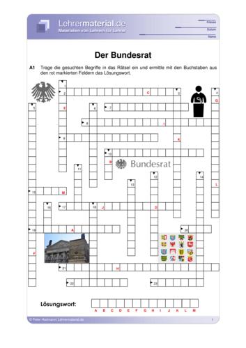Vorschaugrafik 1 für das  Arbeitsblatt Der Bundesrat von Lehrermaterial.de.