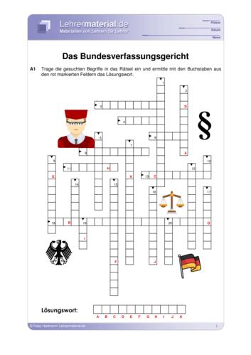 Vorschaugrafik für das  Arbeitsblatt Das Bundesverfassungsgericht von Lehrermaterial.de