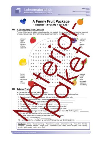 Vorschaugrafik 1 für das  Arbeitsblatt A Funny Fruit Package von Lehrermaterial.de.