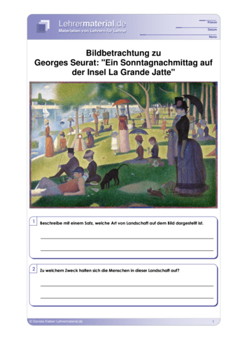 Vorschaugrafik für das  Arbeitsblatt Bildbetrachtung zu Georges Seurat: `Ein Sonntagnachmittag auf der Insel La Grande Jatte´ von Lehrermaterial.de