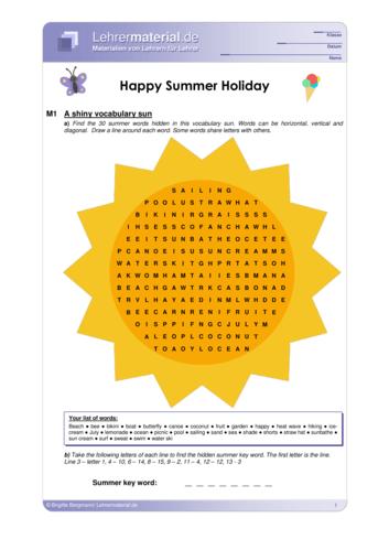 Vorschaugrafik 1 für das  Arbeitsblatt Happy Summer Holiday von Lehrermaterial.de.