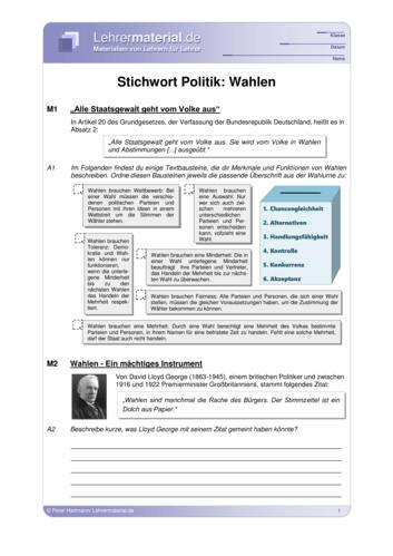 Vorschaugrafik 1 für das  Arbeitsblatt Stichwort Politik: Wahlen von Lehrermaterial.de.