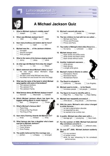 Vorschaugrafik 1 für das  Arbeitsblatt How much do you know about Michael Jackson? von Lehrermaterial.de.