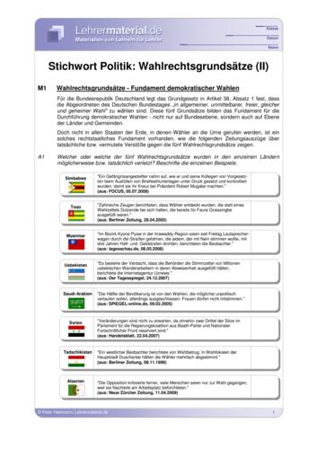 Vorschaugrafik 1 für das  Arbeitsblatt Stichwort Politik: Wahlrechtsgrundsätze (II) von Lehrermaterial.de.