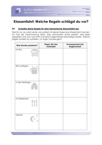 Vorschaugrafik 1 für das  Arbeitsblatt Klassenfahrt: Welche Regeln schlägst du vor? von Lehrermaterial.de.