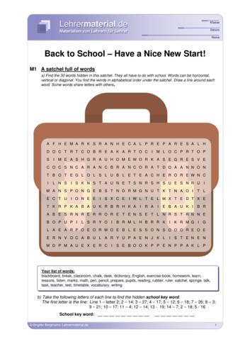 Detailseite für das  Arbeitsblatt Back to School – Have a Nice New Start! öffnen