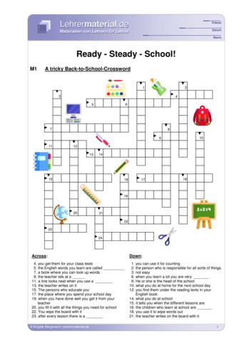 Vorschaugrafik 1 für das  Arbeitsblatt Ready - Steady - School!  von Lehrermaterial.de.