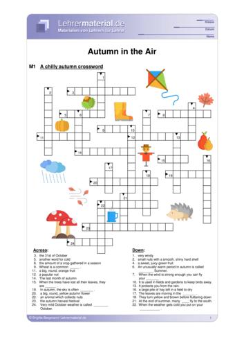 Vorschaugrafik 1 für das  Arbeitsblatt Autumn in the Air  von Lehrermaterial.de.