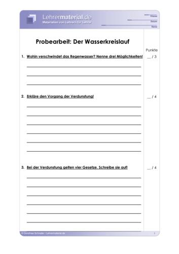 Vorschaugrafik 1 für das  Arbeitsblatt Probearbeit: Der Wasserkreislauf von Lehrermaterial.de.