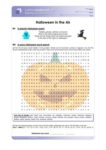 Vorschaugrafik 1 für das  Arbeitsblatt Halloween in the Air von Lehrermaterial.de.