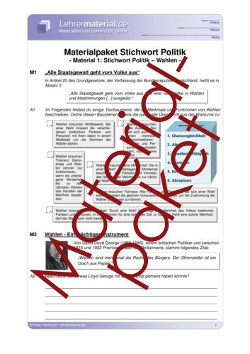 Vorschaugrafik 1 für das  Arbeitsblatt Materialpaket Stichwort Politik von Lehrermaterial.de.