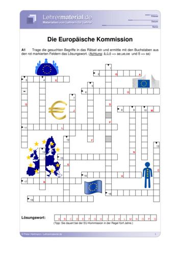 Vorschaugrafik 1 für das  Arbeitsblatt Die Europäische Kommission von Lehrermaterial.de.