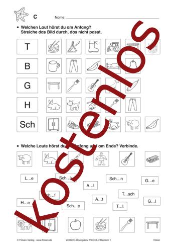 Vorschaugrafik 1 für das kostenlose Arbeitsblatt LOGICO-Box: Laute hören von Lehrermaterial.de.