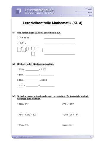 Vorschaugrafik 1 für das  Arbeitsblatt Lernzielkontrolle Mathematik (Kl.4) von Lehrermaterial.de.